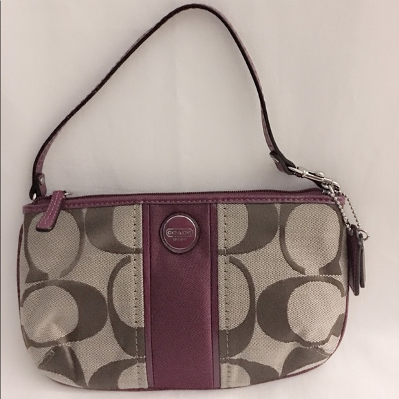 Coach Handbags - Coach Large Wristlet Khaki and Passion Berry